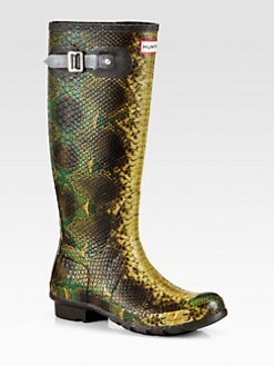 Hunter - Carnaby Snake-Embossed Rubber Rain Boots