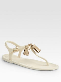 Hunter - Limington Rubber & Patent Tassel Thong Sandals