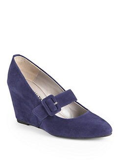 Aquatalia by Marvin K - Sienna Suede Mary Jane Wedge Pumps