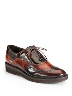 Aquatalia by Marvin K - Xandra Bi-Color Leather Lace-Up Oxfords