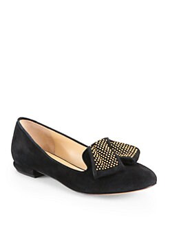 Marvin K - Arianna Studded Suede Smoking Slippers