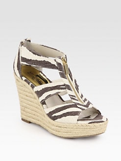 MICHAEL MICHAEL KORS - Damita Zebra-Print Canvas Wedge Sandals