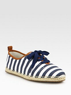 MICHAEL MICHAEL KORS - Del Rey Striped Canvas Lace-Up Espadrilles