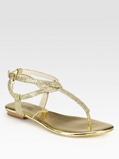 MICHAEL MICHAEL KORS - Jessie Metallic Leather Thong Sandals
