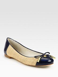 MICHAEL MICHAEL KORS - Jordana Raffia & Patent Leather Ballet Flats