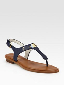 MICHAEL MICHAEL KORS - MK Plate Textured Leather Thong Sandals