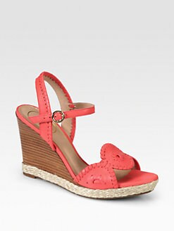Jack Rogers - Clare Woven Leather Wedge Sandals
