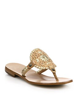 Jack Rogers - Georgica Metallic Leather Thong Sandals