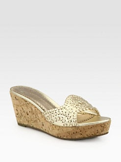 Jack Rogers - Barcelona Capri Metallic Leather Cork Wedge Slides