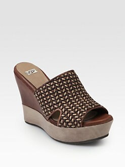 UGG Australia - Doha Woven Leather Wedge Slides
