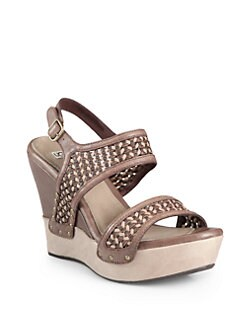 UGG Australia - Assia Woven Leather Wedge Sandals
