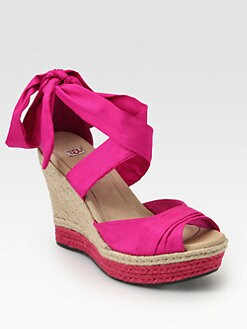 UGG Australia - Lucianna Silk & Leather Espadrille Wedges