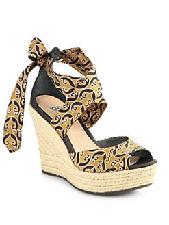 UGG Australia - Lucianna Marrakech Silk & Leather Espadrille Wedges
