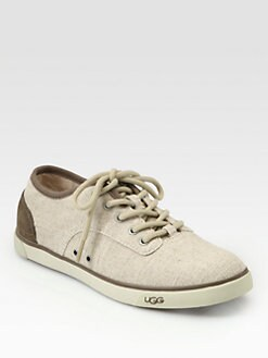 UGG Australia - Hally Linen & Suede Lace-Up Sneakers