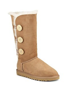 UGG Australia - Tall Bailey Button Triplet Suede & Sheepskin Boots