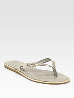UGG Australia - Allaria Snake-Embossed Leather Thong Sandals