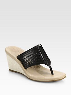 UGG Australia - Solena Leather & Canvas Wedge Sandals
