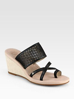 UGG Australia - Neghan Leather & Canvas Wedge Sandals