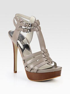 MICHAEL MICHAEL KORS - Georgie Leather T-Strap Platform Sandals