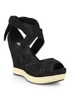 UGG Australia - Lucy Suede Tie-Up Wedge Sandals