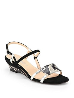 Aquatalia by Marvin K - Napoli Snake-Print Leather Wedge Sandals