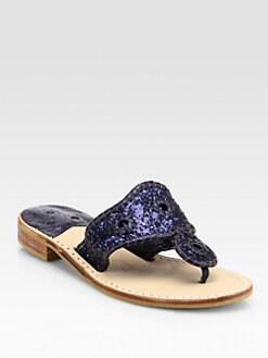 Jack Rogers - Glitter Metallic Leather Thong Sandals