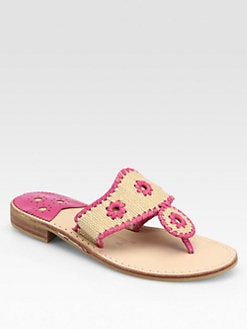 Jack Rogers - Woven Raffia & Leather Thong Sandals