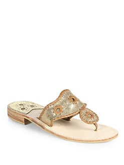 Jack Rogers - Navajo Metallic Leather Thong Sandals