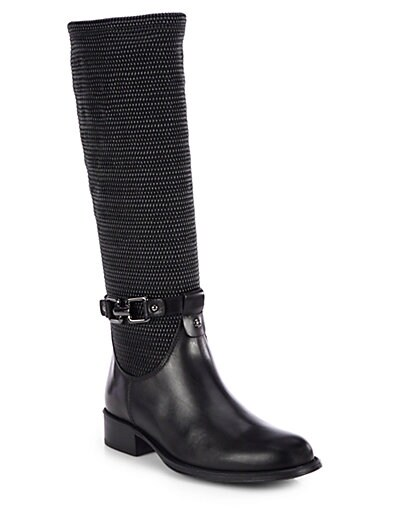 Upswing Textured-Leather Riding Boots