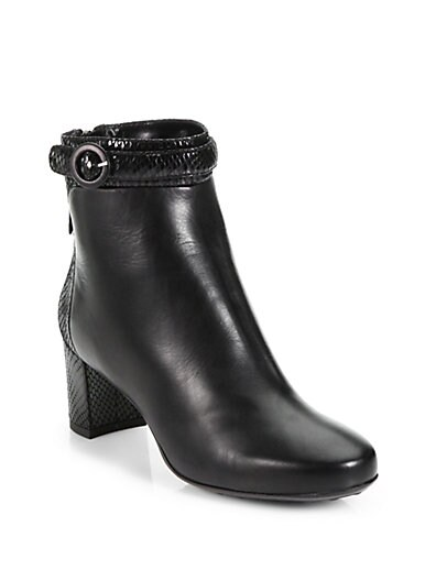 Takeout Snake-Embossed Leather Ankle Boots
