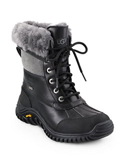 UGG Australia - Adirondack II Lace-Up Shearling-Lined Leather Boots