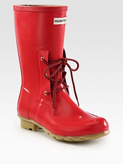 Hunter - Rubber Lace-Up Rain Boots