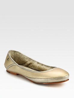 UGG Australia - Two-Tone Metallic Leather and Sheepskin Ballet Flats