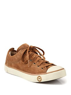 UGG Australia - Suede and Shearling Lace-Up Sneakers