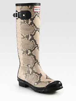 Hunter - Snake-Print Rubber Rain Boots