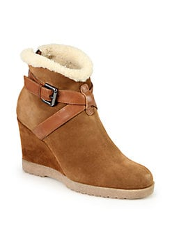 Aquatalia by Marvin K - Suede & Faux Shearling Wedge Ankle Boots