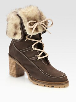 Hunter - Shearling Cuff Suede Ankle Boots