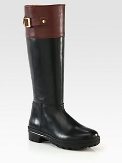 Hunter - Cirano Leather Buckle Knee-High Boots