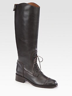 Hunter - Leather Lace-Up Riding Boots