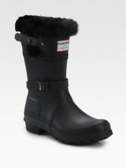 Hunter - Fur-Trimmed Rain Boots