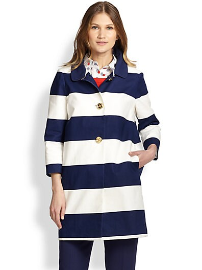 Kate Spade New York Franny Striped Coat   French Navy Cream