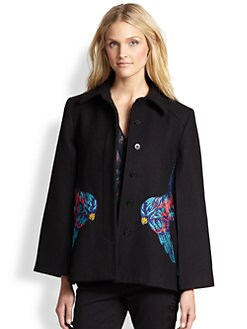 Marchesa Voyage - Embroidered Parrot Cape