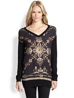 Marchesa Voyage - Silk & Wool Scarf Sweater