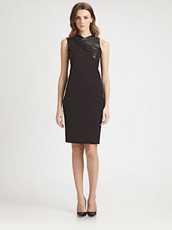 Halston Heritage - Leather-Trim Sheath Dress