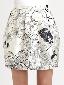 Raoul - Floral Print Silk/Cotton Skirt