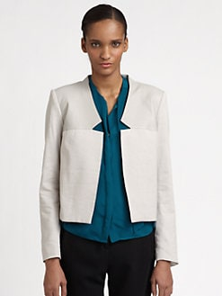 Halston Heritage - Leather-Detail Linen Jacket