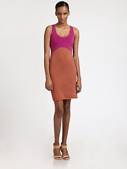 Halston Heritage - Colorblock Racerback Dress