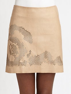 Halston Heritage - Laser-Cut Leather Skirt