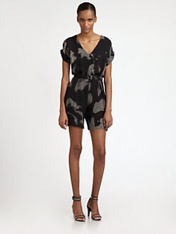 Halston Heritage - Cotton/Silk Short Jumpsuit