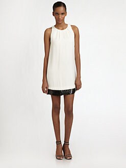 Halston Heritage - Cotton/Silk Embellished-Hem Dress
